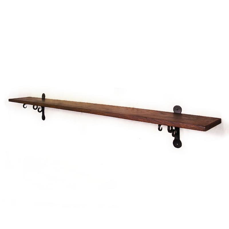壁掛け棚 アイアン ウォールシェルフ 1200mm 120cm 金具 棚受け ローズウッド シーシャムウッドの壁掛け棚1200