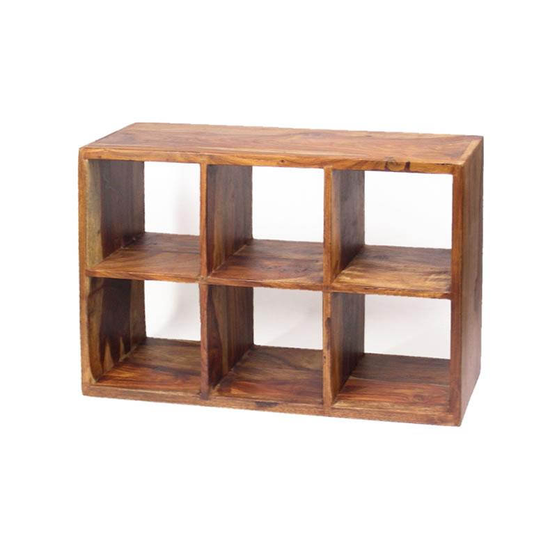 ウォールシェルフ 棚 木製 収納 ラック CD キッチン 洗面所 ローズウッド 6スルーボックスシェルフ