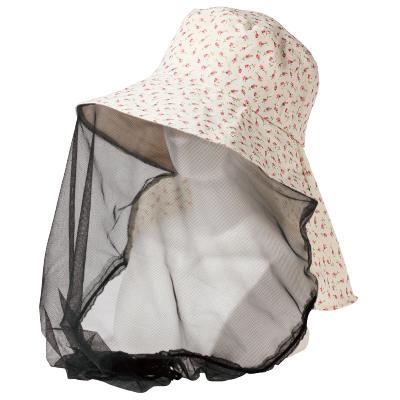 虫よけ帽子 虫除け帽子 UV帽子 紫外線対策 UVカット 紫外線カット レディースハット 紫外線と虫からガード 虫よけネット付き日よけ帽子 倉庫 期間限定 定形外郵便等で送料無料 虫ガード 授与 メール便 虫よけスプレーがいらない ベージュ×花柄 虫よけメッシュ帽子