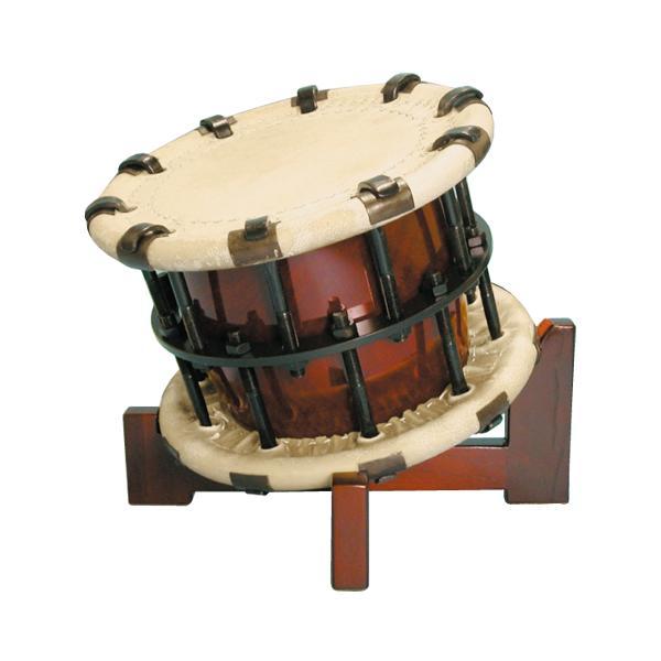 締太鼓5丁掛(ボルト締め・くりぬき胴) 木製座り台座セット