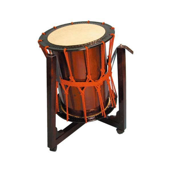 桶胴太鼓1.4尺(赤紐・茶色胴)三柱台座セット 送料無料