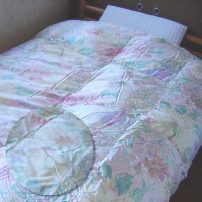 絹100%生地使用立体キルト羽毛布団 『ヴィラージュ』 シングルサイズ150x210cmシベリア産ホワイトグース95%