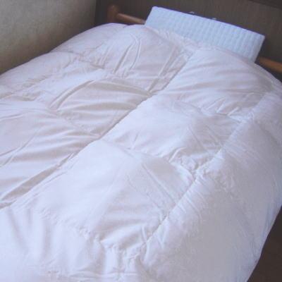 絹50%生地使用立体キルト羽毛布団 『ジャガード』 シングルサイズ150x210cm