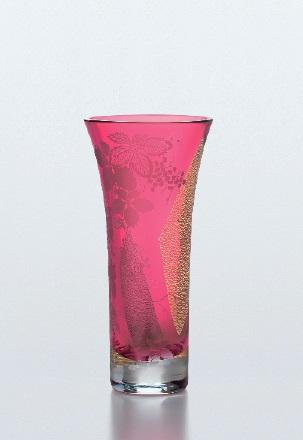 花 器 江戸硝子 紅玻璃 葡萄文柄花瓶【ギフト】【御祝】【記念品】【包装無料】