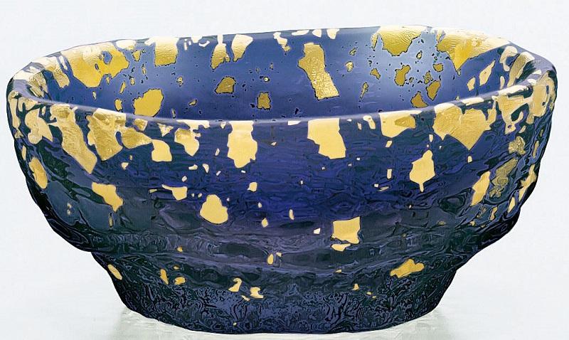 ガラス はち 金箔鉢 小皿紺碧 手造り 小鉢 6個入り 鉢 東洋佐々木ガラス