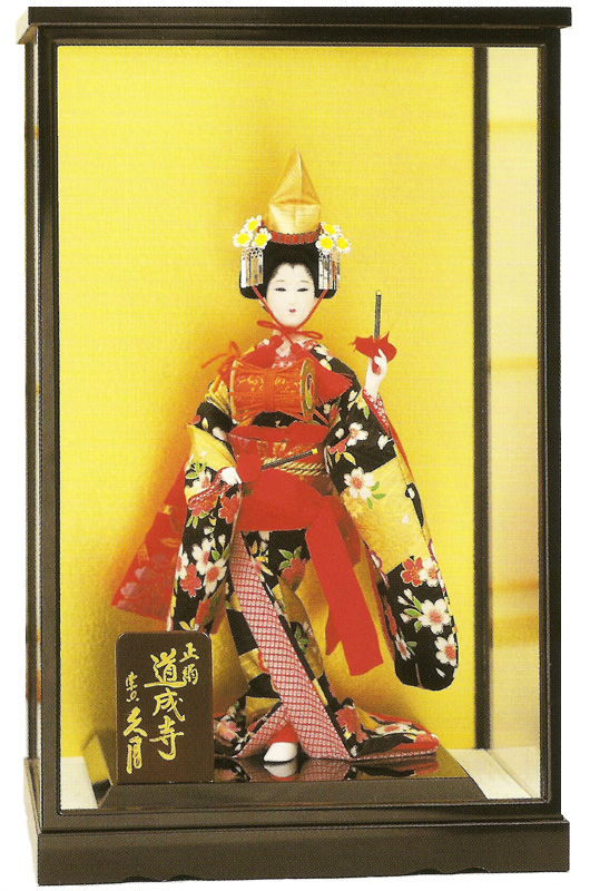 久月No.105合せ扉式縦長ガラスケース (黒枠・金バック) 各種お人形、立雛、陶磁器、ちりめん製品、手作り作品等、あらゆる用途にご利用いただけるガラスケースです! ガラスケース ※本ページはガラスケースのみの販売です。お人形は別売りです。