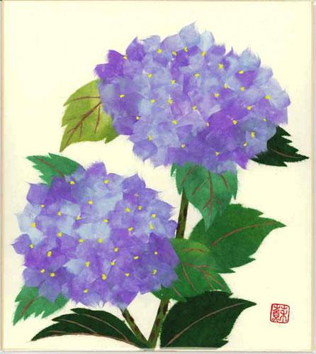 プレゼント 10%OFF ギフト 贈り物 贈答品にもおススメです 色紙 日本画 季節のちぎり絵シリーズ 夏 新作多数 ちぎり紙紫陽花 6月の誕生花 貼り絵アジサイ