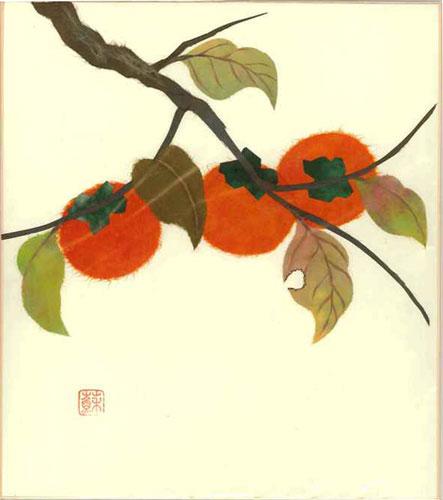 趣味と生活 即出荷 色紙 日本画 季節のちぎり絵シリーズ 国内送料無料 9月の誕生花 貼り絵かき 秋 ちぎり紙柿