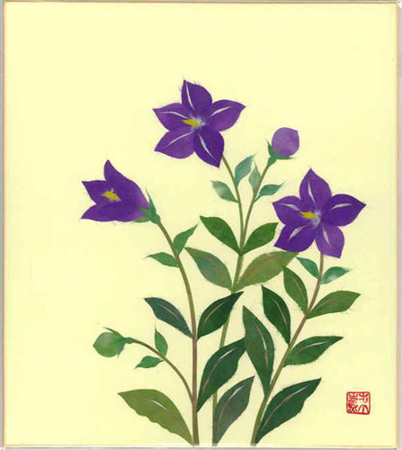 プレゼント ギフト 贈り物 贈答品にもおススメです 色紙 日本画 夏~秋 貼り絵ききょう 新生活 8月の誕生花 舗 季節のちぎり絵シリーズ ちぎり紙桔梗