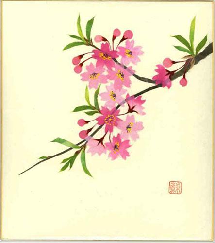 日本限定 趣味と生活 色紙 日本画 在庫あり 季節のちぎり絵シリーズ 春 貼り絵さくら 4月の誕生花 ちぎり紙桜