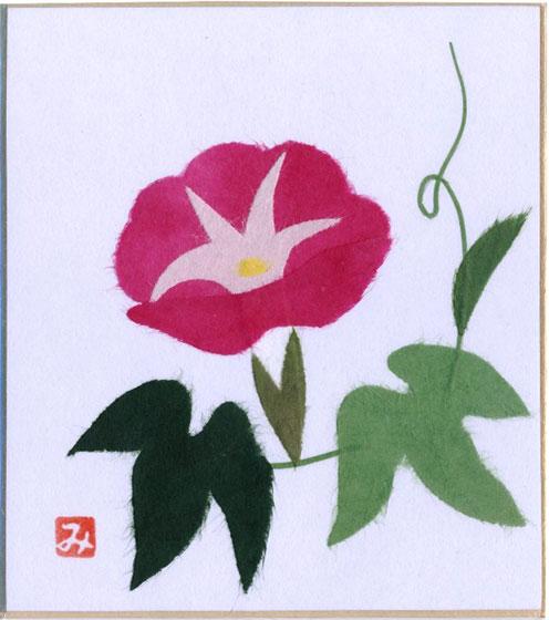 趣味と生活 スタンド付き小色紙 日本画 季節 四季折々のちぎり絵 貼り絵シリーズ 夏 アサガオ 朝顔 短い愛 固い結束 出荷 期間限定 はかない恋 愛情 ピンク 愛情の絆 平静 花言葉:明日もさわやかに