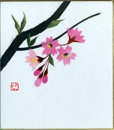 趣味と生活 スタンド付き小色紙 日本画 季節 四季折々のちぎり絵 商舗 貼り絵シリーズ 春 精神美 優れた美人 淡泊 返品不可 桜 純潔 花言葉:あなたに微笑む サクラ