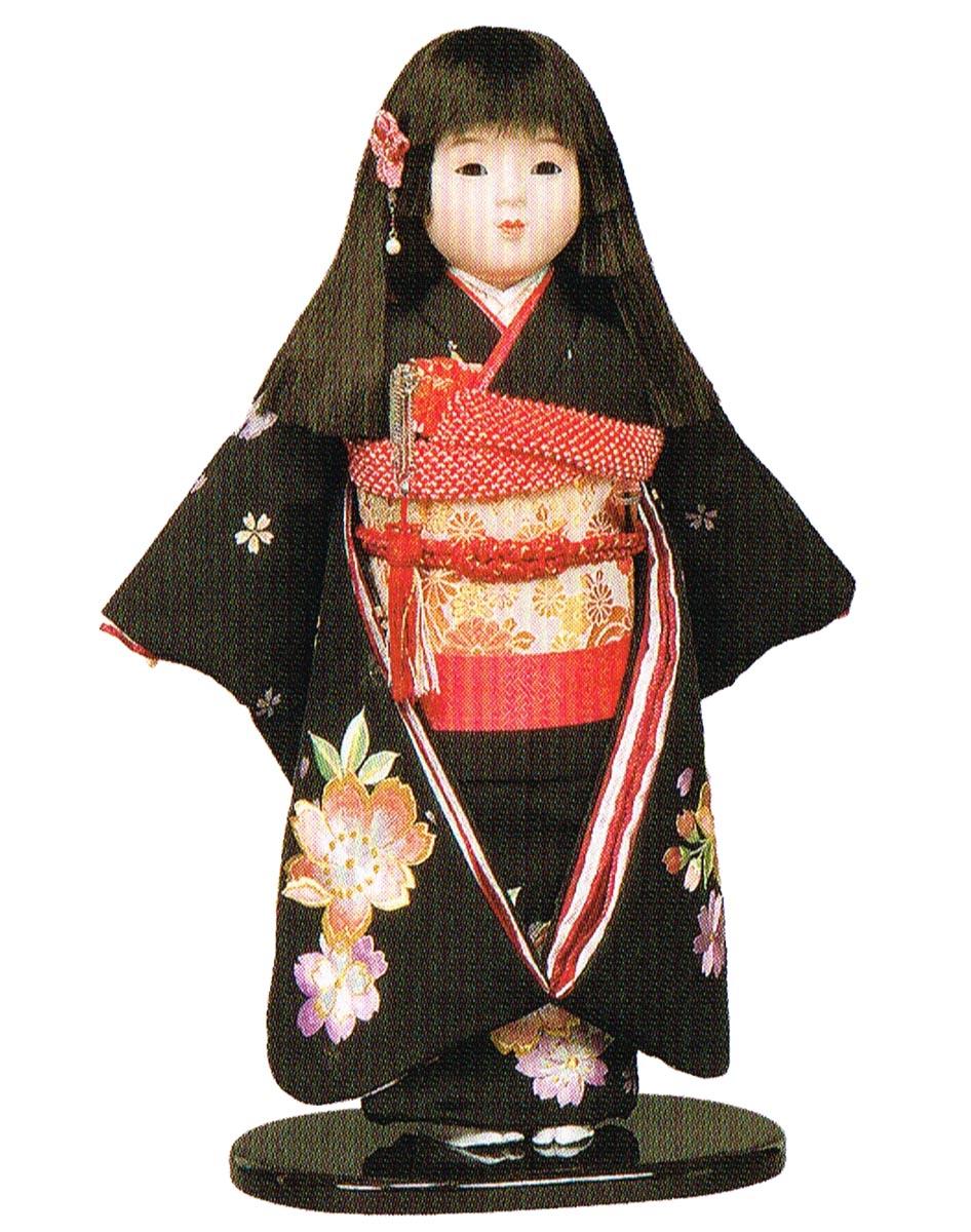 送料無料 平安豊久作 市松人形 13号 本刺繍 黒 〈平安豊久 いちまつにんぎょう いちまさん 日本人形 和人形 和服衣装着人形 伝統人形 衣裳着人形 衣装着人形 着物人形 女の子のお人形 おにんぎょう 伝統工芸品 通販〉