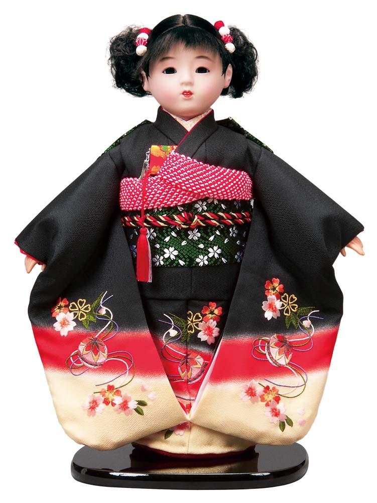 送料無料 平安豊久作 市松人形 13号 刺繍 黒 〈平安豊久 いちまつにんぎょう いちまさん 日本人形 和人形 和服衣装着人形 伝統人形 衣裳着人形 衣装着人形 着物人形 女の子のお人形 おにんぎょう 伝統工芸品 通販〉