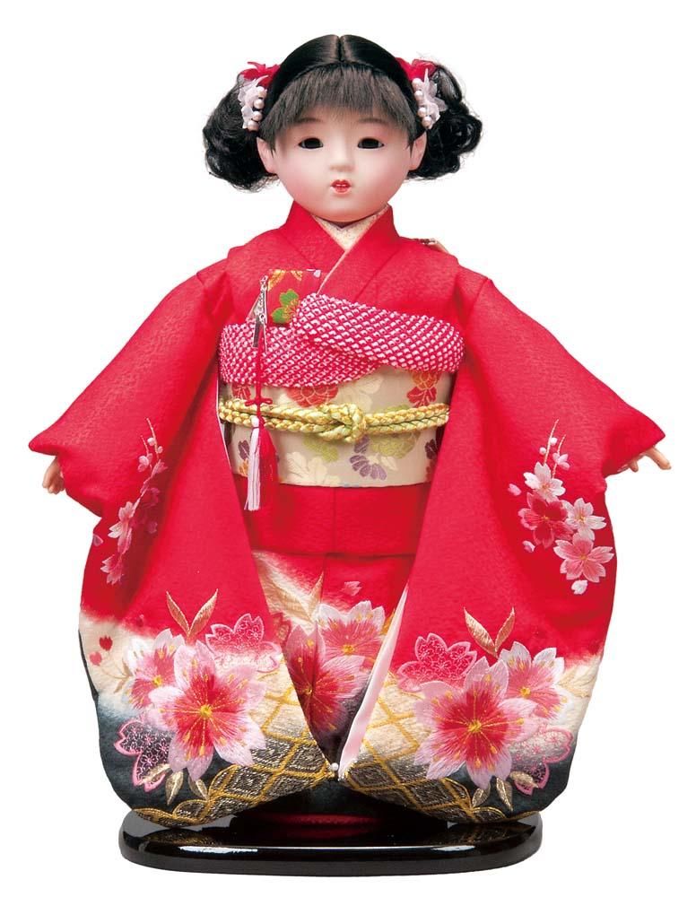 平安豊久のオリジナル市松人形 送料無料 平安豊久作 市松人形 13号 正絹刺繍 赤 〈平安豊久 安全 いちまつにんぎょう いちまさん 日本人形 和人形 衣装着人形 おにんぎょう 卓抜 伝統人形 和服衣装着人形 女の子のお人形 衣裳着人形 通販〉 着物人形 伝統工芸品