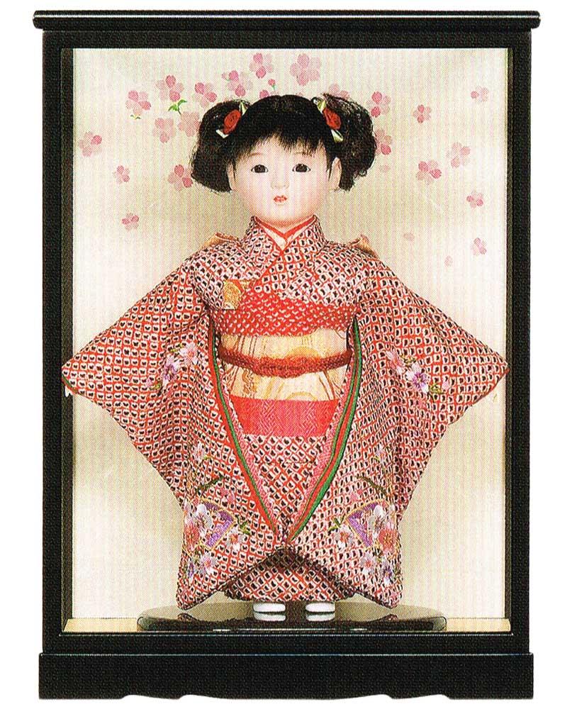 送料無料 平安豊久作 市松人形 8号 かのこ刺繍 ケース付き 〈平安豊久 いちまつにんぎょう いちまさん 日本人形 和人形 和服衣装着人形 伝統人形 衣裳着人形 衣装着人形 着物人形 女の子のお人形 おにんぎょう ケース入り 伝統工芸品 通販〉