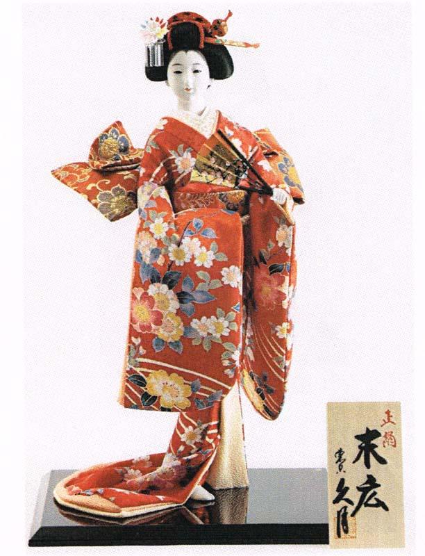 久月作 日本人形(尾山人形) 12号 正絹 【末広】 Japanese doll 〈日本の伝統品 にほんにんぎょう 和人形 お人形 和の置物・お飾り・インテリア 日本のおみやげ 海外・外国へのお土産・プレゼントにもおススメです! 通販〉