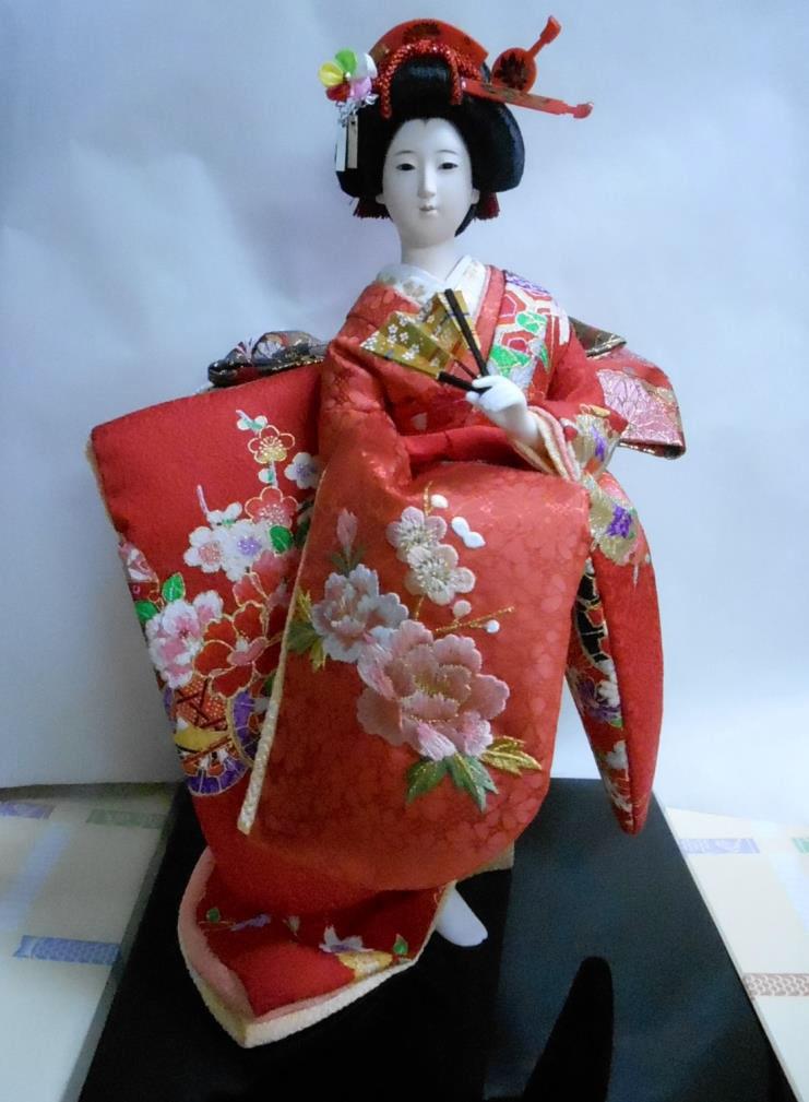 久月作 日本人形(尾山人形) 片袖脱刺繍 6号 【花衣】 Japanese doll 〈日本の伝統品 にほんにんぎょう 和人形 お人形 和の置物・お飾り・インテリア 日本のおみやげ 海外・外国へのお土産・プレゼントにもおススメです! 通販〉