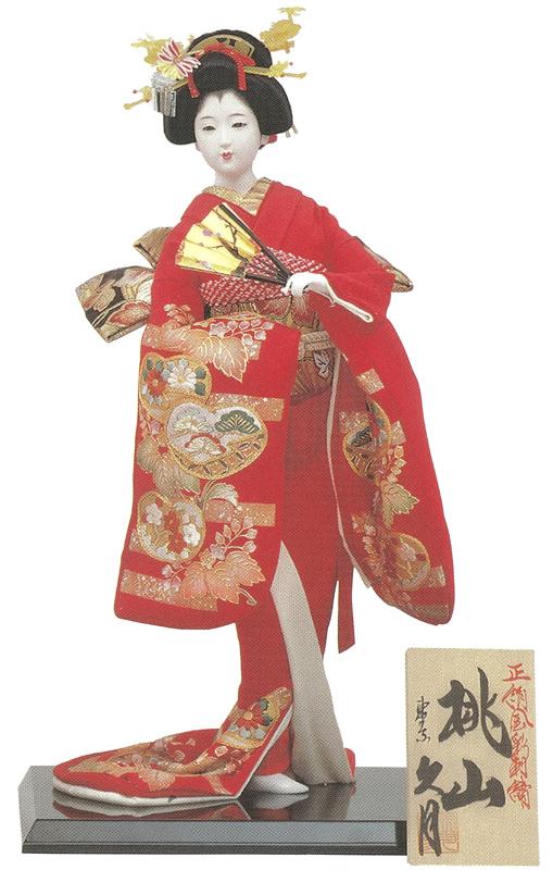 久月作 日本人形(尾山人形) 正絹金彩刺繍 【桃山】 Japanese doll 〈日本の伝統品 にほんにんぎょう 和人形 お人形 和の置物・お飾り・インテリア 日本のおみやげ 海外・外国へのお土産・プレゼントにもおススメです! 通販〉