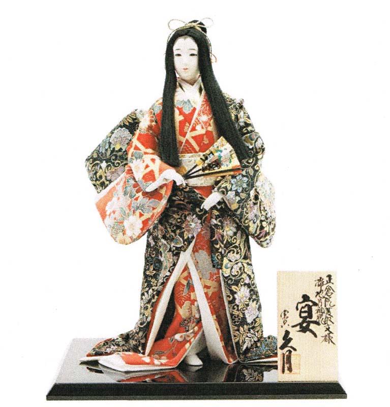 久月作 日本人形(尾山人形) 正倉院菱取文様 片袖脱帯地 10号 【宴】 Japanese doll 〈日本の伝統品 にほんにんぎょう 和人形 お人形 和の置物・お飾り・インテリア 日本のおみやげ 海外・外国へのお土産・プレゼントにもおススメです! 通販〉
