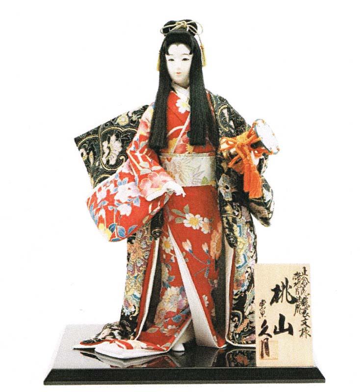 久月作 日本人形(尾山人形) 正倉院鐘裏文様 片袖脱帯地 10号 【桃山】 Japanese doll 〈日本の伝統品 にほんにんぎょう 和人形 お人形 和の置物・お飾り・インテリア 日本のおみやげ 海外・外国へのお土産・プレゼントにもおススメです! 通販〉