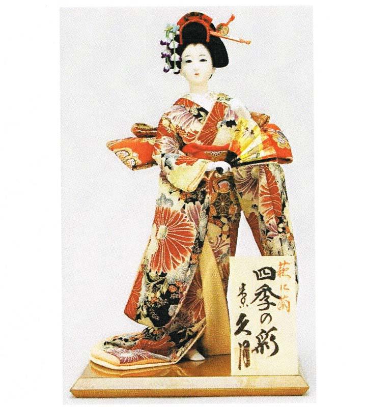 久月作 日本人形(尾山人形) 萩に菊 9号 【四季の彩】(秋) Japanese doll 〈日本の伝統品 にほんにんぎょう 和人形 お人形 和の置物・お飾り・インテリア 日本のおみやげ 海外・外国へのお土産・プレゼントにもおススメです! 通販〉