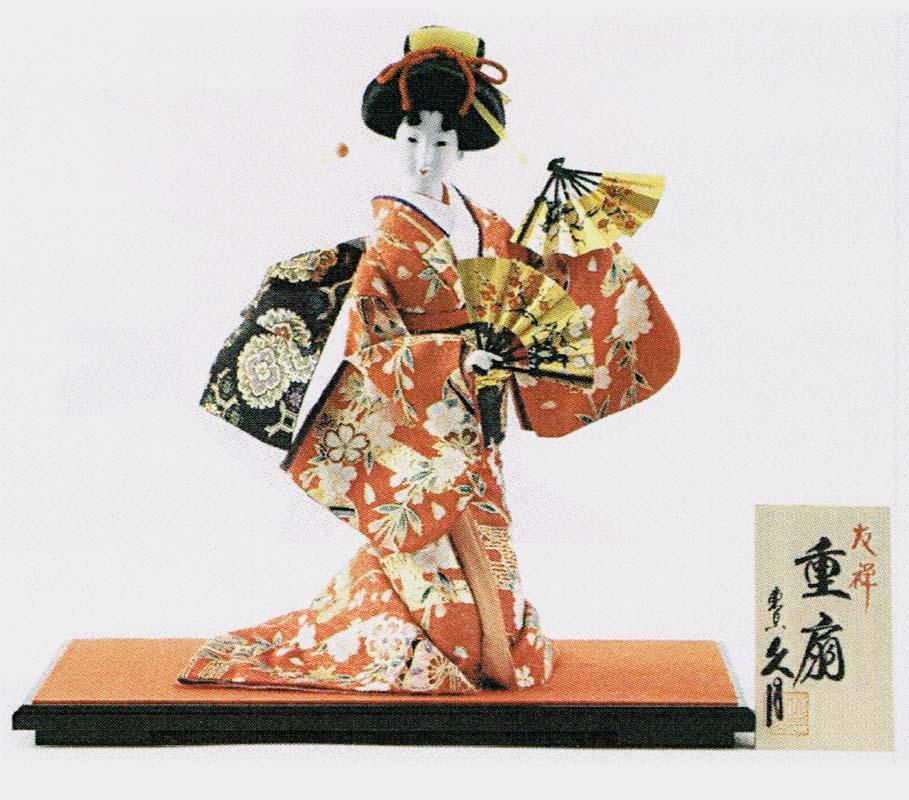 久月作 日本人形(尾山人形) 10号 友禅 座り 【重ね扇】 Japanese doll 〈人形の久月 日本の伝統品 にほんにんぎょう 和人形 伝統人形 お人形 和の置物・お飾り インテリア 日本文化 伝統工芸品 日本のおみやげ 海外・外国へのお土産・プレゼント〉