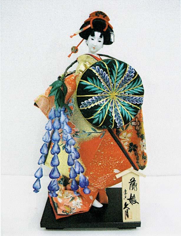 久月作 日本人形(尾山人形) 10号 友禅 【藤娘】 Japanese doll 〈人形の久月 日本の伝統品 にほんにんぎょう 和人形 伝統人形 お人形 和の置物・お飾り インテリア 日本文化 伝統工芸品 日本のおみやげ 海外・外国へのお土産・プレゼント〉