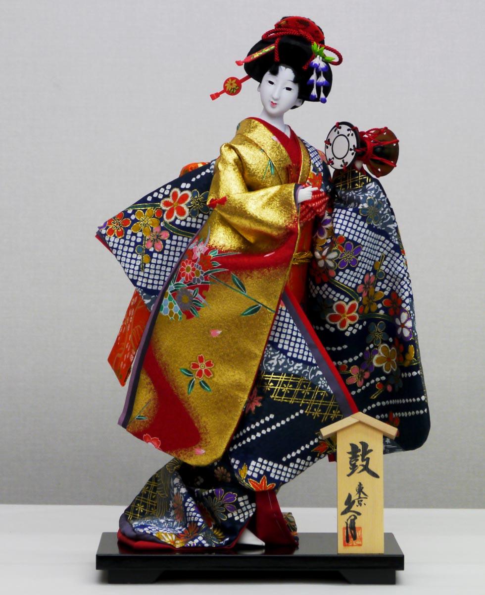 久月作 日本人形(尾山人形) 10号 【片袖脱 鼓】 Japanese doll 〈日本の伝統品 にほんにんぎょう 和人形 お人形 和の置物・お飾り・インテリア 日本のおみやげ 海外・外国へのお土産・プレゼントにもおススメです! 通販〉