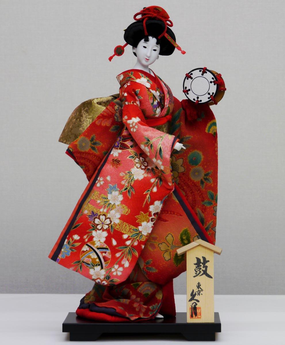 久月作 日本人形(尾山人形) 10号 【小町 縮緬 片袖脱 鼓】 Japanese doll 〈日本の伝統品 にほんにんぎょう 和人形 お人形 和の置物・お飾り・インテリア 日本のおみやげ 海外・外国へのお土産・プレゼントにもおススメです! 通販〉