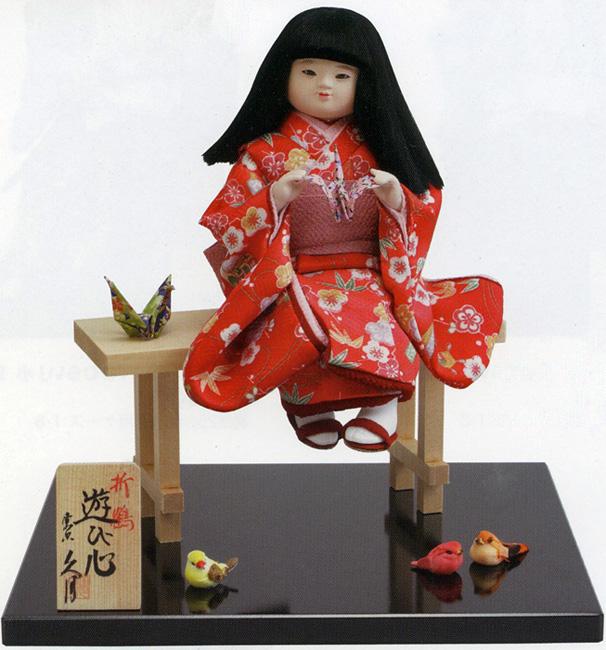 久月作 日本人形 わらべ人形・童人形 折鶴 【遊び心】 〈Japanese doll 日本文化 伝統品 和のインテリア 和人形 おにんぎょう 外国・海外へのお土産・贈り物・プレゼント・ギフトにもおススメです!〉