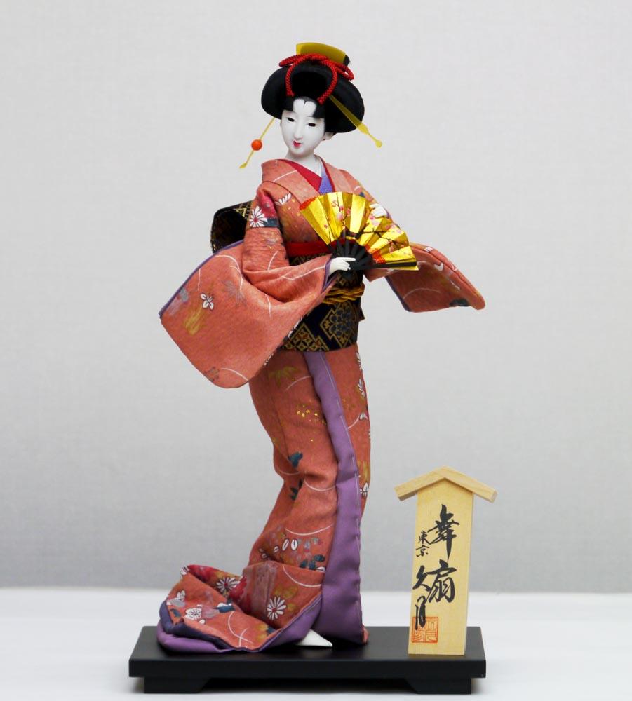 久月作 日本人形(尾山人形) 10号 【友禅 桃 扇】 Japanese doll 〈日本の伝統品 にほんにんぎょう 和人形 お人形 和の置物・お飾り・インテリア 日本のおみやげ 海外・外国へのお土産・プレゼントにもおススメです! 通販〉