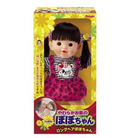 楽しく遊べる玩具・着せ替え人形 やわらかお肌のロングヘアぽぽちゃん 2色のペアリボン 特典DVD付き 〈大人・子供向けおもちゃ 女の子向け コレクション きせかえ人形 着替え お世話遊び 知育玩具 popo-chan〉