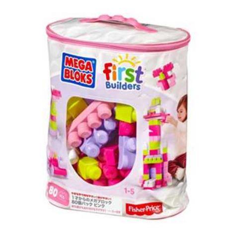 ギフト・プレゼント・贈り物・贈答品にもおススメです。  玩具 楽しく遊べるおもちゃ・ベビー向けおもちゃ フィッシャープライス DCH62 1才からのメガブロック80個バック ピンク 〈子供用玩具 こどものおもちゃ 乳児・幼児 オモチャ 赤ちゃん用ブロック おてて遊び 指先の運動 本格ブロック遊び〉