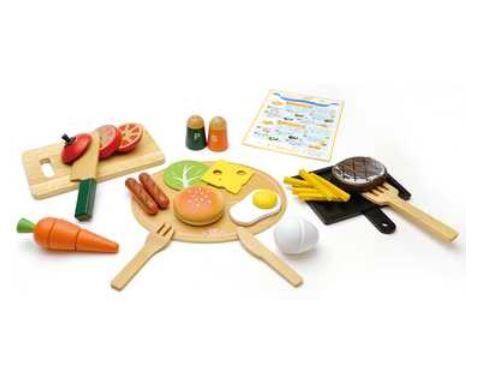 玩具 楽しく遊べるおもちゃ ウッディプディ 木のおもちゃ はじめてのおままごと G05-1143 洋食屋さんセット 〈玩具 おもちゃ 子供向けおもちゃ こども用 子ども 幼児 女の子向け ごっこ遊び woodypuddy おままごと お飯事 通販〉