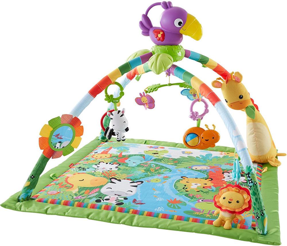 玩具 遊具 楽しく遊べるおもちゃ・ベビー向けおもちゃ 欧米で大人気! フィッシャープライス キルトマットのジム レインフォレスト デラックスジムII DFP08 〈子ども こどものおもちゃ 幼児 オモチャ 赤ちゃん用室内遊具 うつぶせ遊び おねんね〉