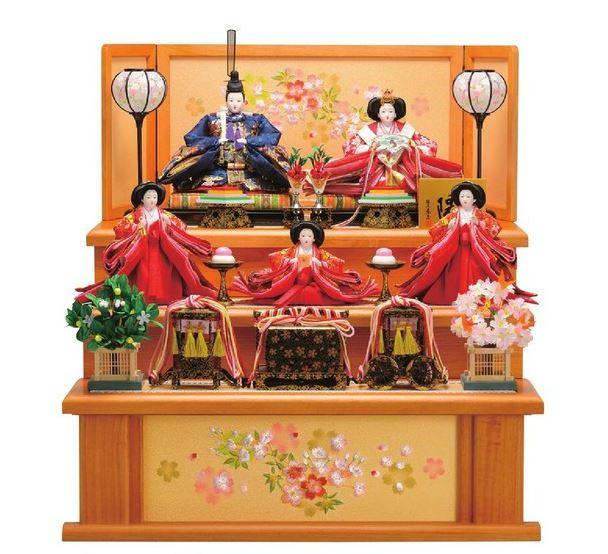 送料無料 東玉 雛人形 衣装着五人揃い 木製三段飾り 【春雛】 〈お雛様 お雛さま おひな様 おひなさま お雛飾り お内裏様 雛祭り 三月三日 桃の節句 衣裳着人形 三人官女 五人飾り 5人飾り〉