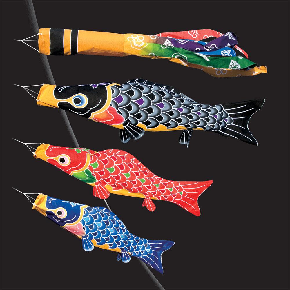 送料無料 徳永鯉のぼり作 手描本染綿製之鯉 福寿 1.5m6点スタンドセットこいのぼり
