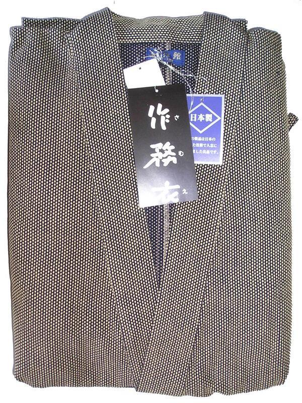 総刺し子作務衣-金茶(M~LLサイズ)