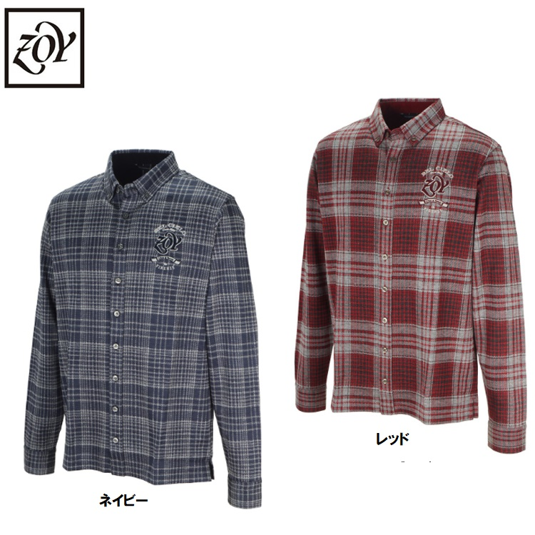 秋冬モデル お値打ち価格で ゾーイ メンズ シャツ ZOY チェック 30%OFF 長袖ポロシャツ071494031 出色