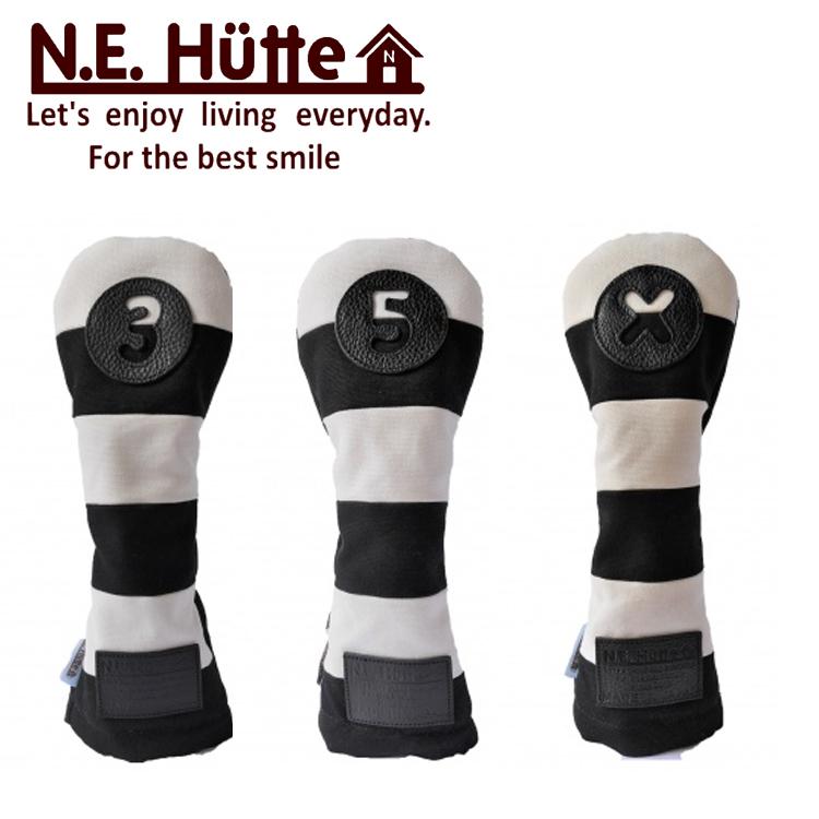 マート N.E.Hutte エヌイー ヒュッテ ギフト WHBKヘッドカバー ホワイトブラック日本製帆布キャンバスシリーズ フェアウェイウッドカバー