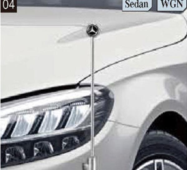 『Cクラス(セダン、ステーションワゴン)』 純正 DBA DAA LDA CBA 固定式コーナーポール パーツ ベンツ純正部品 フェンダーポール フェンダーライト 障害物 オプション アクセサリー 用品