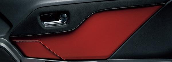 『S660』 純正 JW5 ドアライニングパネル(左右セット/運転席側ポケット付)ラックス スェードR(ブラック)×ボルドーレッド(合皮製)×グレーステッチ パーツ ホンダ純正部品 オプション アクセサリー 用品