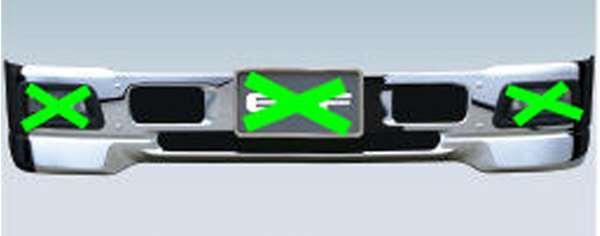 『エルフ』 純正 FR6AA FR6AAS~ メッキエアダムバンパー(フォグランプ対応) ハイキャブ パーツ いすゞ純正部品 フォグライト 補助灯 霧灯 オプション アクセサリー 用品