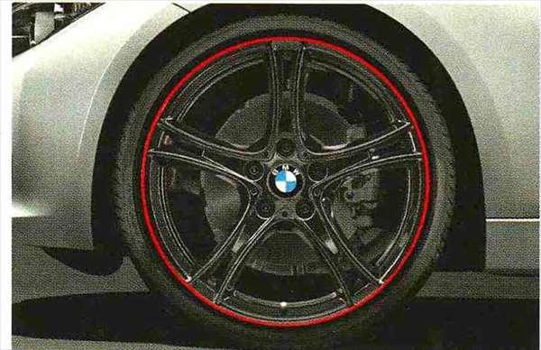 3 SEDAN・TOURING パーツ ダブルスポーク・スタイリング361 バイカラー ブラック/レッドリングのホイール単体 8J×20(フロント) BMW純正部品 3A20 3B20 3D20 3A30 オプション アクセサリー 用品 純正 送料無料