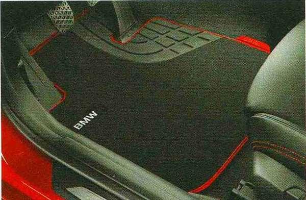 3 SEDAN・TOURING パーツ フロア・マット・セットTextile ブラック/レッド(Sport)のリヤ・セット BMW純正部品 3A20 3B20 3D20 3A30 オプション アクセサリー 用品 純正 マット