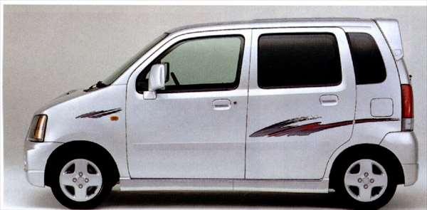 『ワゴンR』 純正 MC21 MC11 ストライプテープ(カーボニック)5ドア用 左右セット+フロントエンブレム パーツ スズキ純正部品 ステッカー シール ワンポイント飾り ワンポイント wagonr オプション アクセサリー 用品