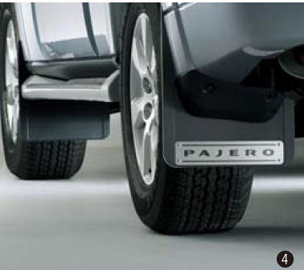 『パジェロ』 純正 V98W V93W マッドフラップ(アルミプレート仕様) パーツ 三菱純正部品 マッドガード マットガード 泥よけ オプション アクセサリー 用品