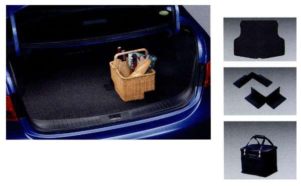 『ブルーバード シルフィー』 純正 G11 KG11 NG11 ラゲッジルームシステム(カーペットセット)ラゲッジカーペット+パーティション(2個セット)+防水バック) パーツ 日産純正部品 ラゲッジカーペット ラゲージカーペット ラゲージマット SYLPHY オプション アクセサリー