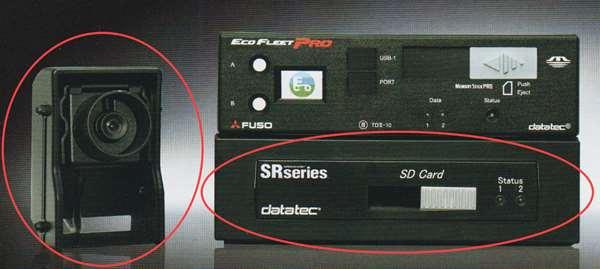 ファイター パーツ エコフリートプロ-DRのDVRmini本体、DVRmini接続ケーブル、CCDカメラ(フード付) ※全てセットではありません 赤○商品のみです ※本体は別売です 三菱ふそう純正部品